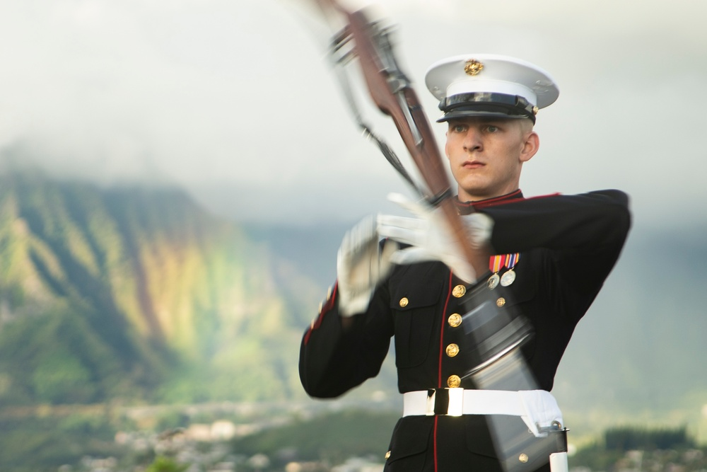 The U.S. Marine Corps Silent Drill Platoon rehearses aboard Marine Corps Base Hawaii