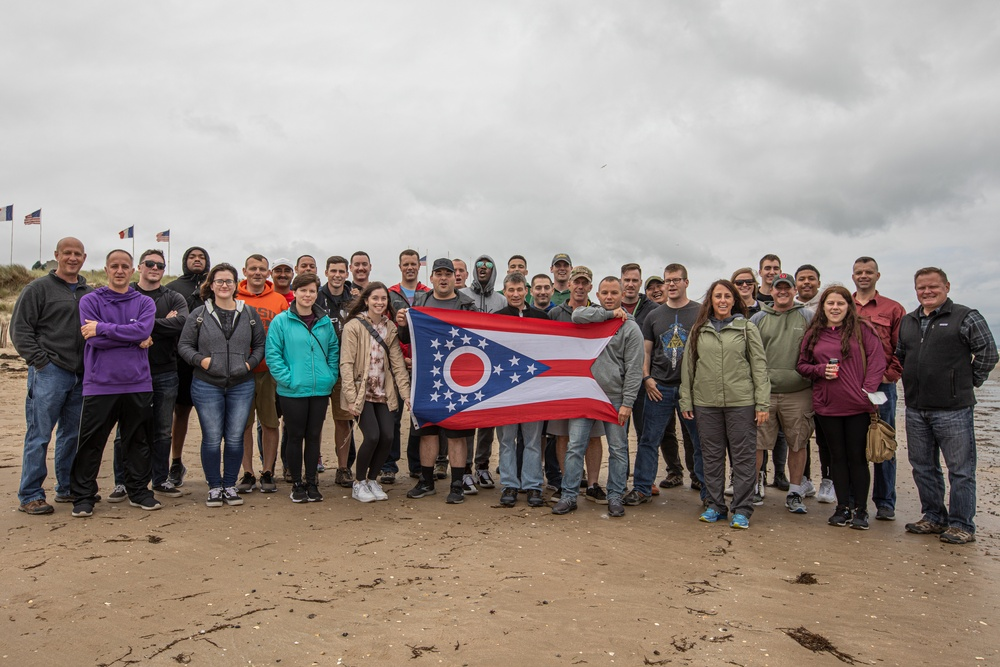 174th Air Defense Artillery headquarters company explores the terrain on a D-Day staff ride