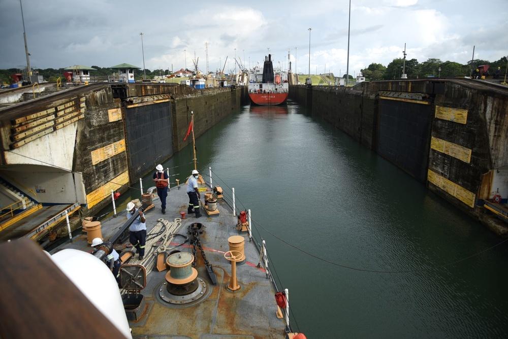 USCGC Northland transits through Panama Canal