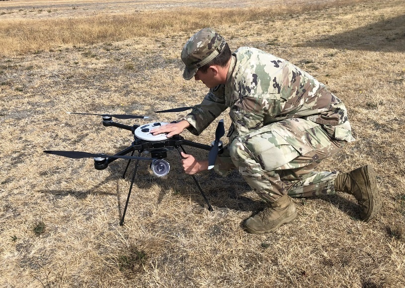 U.S. Army Explosive Ordnance Disposal technicians field test Unmanned Aerial System