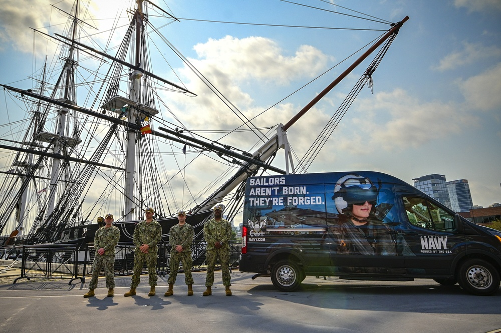 Navy Recruiting Mobile Engagement Vehicle and USS Constitution