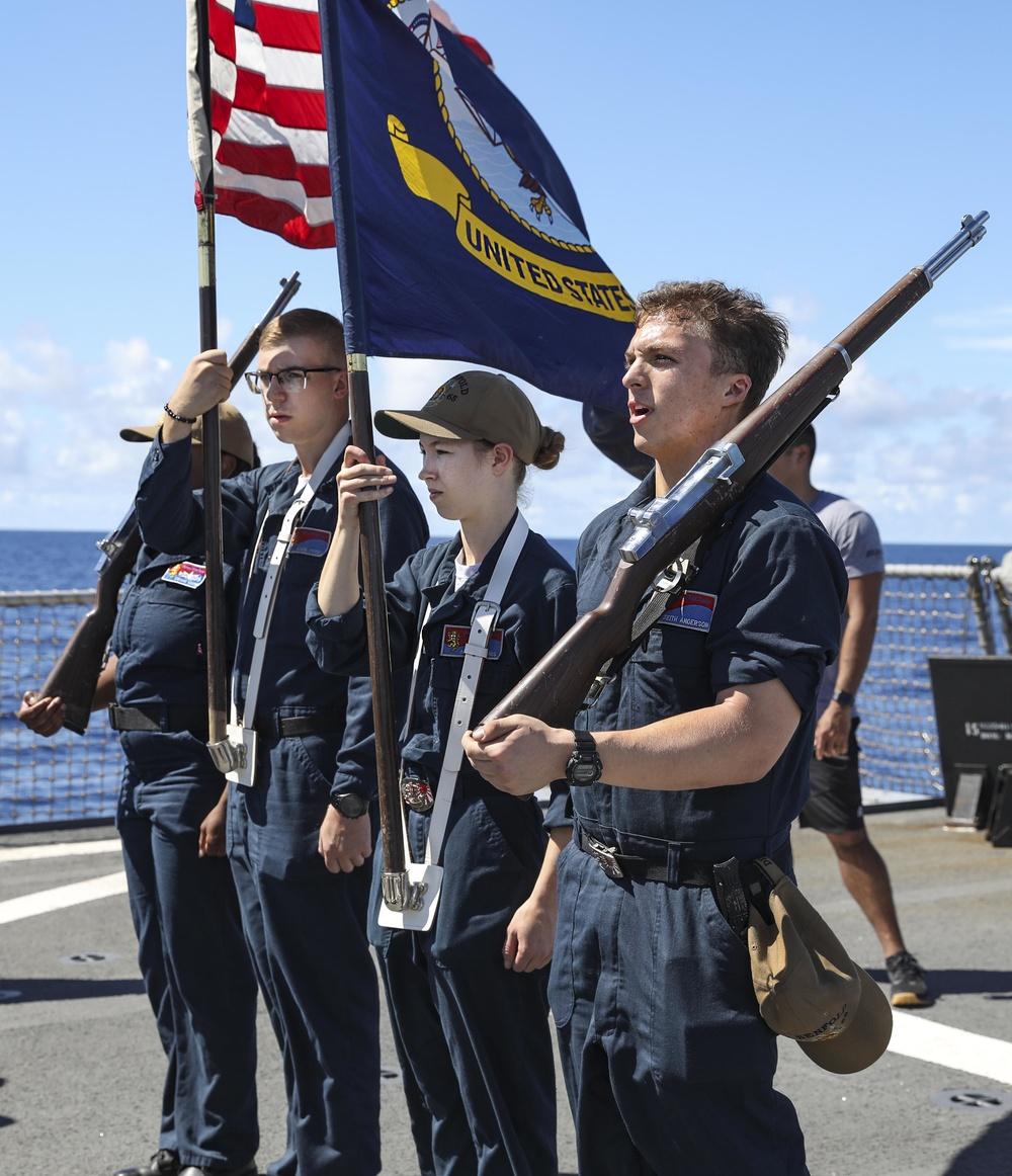 USS Benfold Color Guard Practice