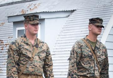U.S. Marines Patrol Temporary Housing on Marine Corps Base Quantico