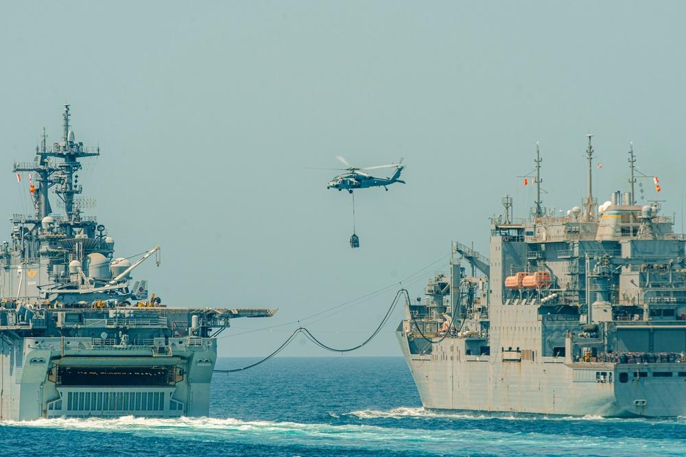 USS Essex ARG RAS in Arabian Gulf