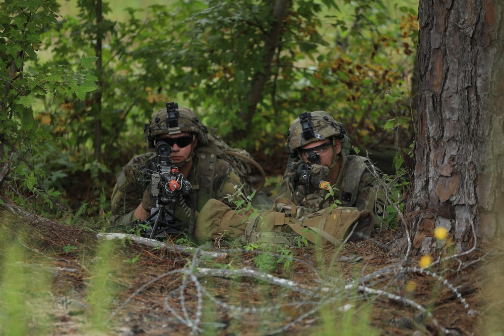 2-506 Infantry Regiment, 3rd Brigade Combat Team, 101st Airborne Division (Air Assault) Soldiers secure a small town from enemy combatants at Joint Readiness Training Center, Fort Polk, LA.