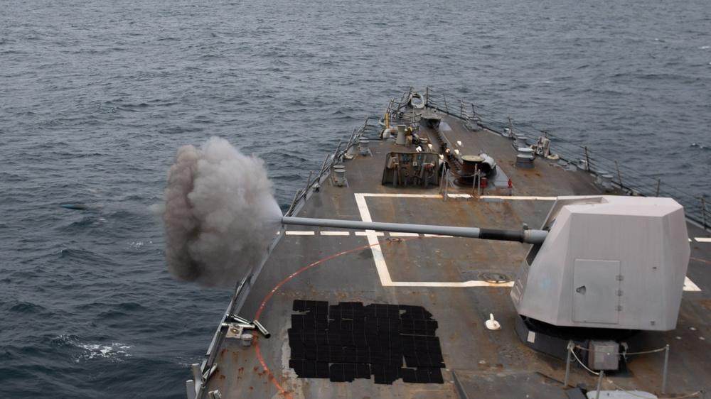 USS Mustin Fires its 5-inch Gun While Underway