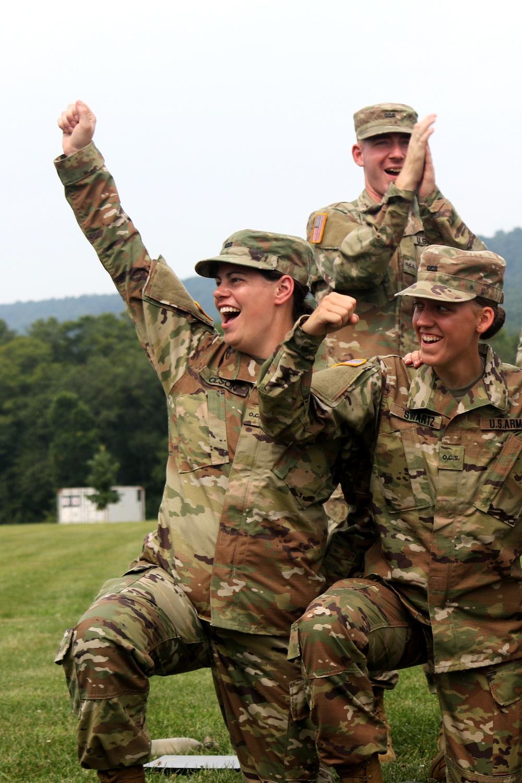 Officer candidates celebrate after graduating