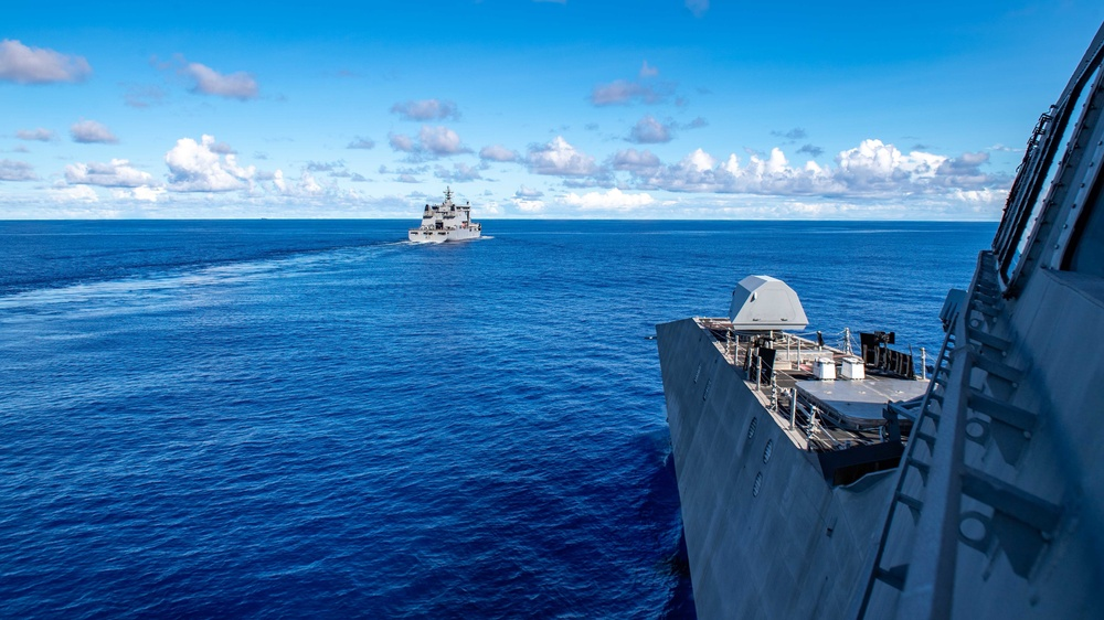USS Charleston conducts RAS with Royal New Zealand Navy HMNZS Aotearoa and HMNZS Te Kaha