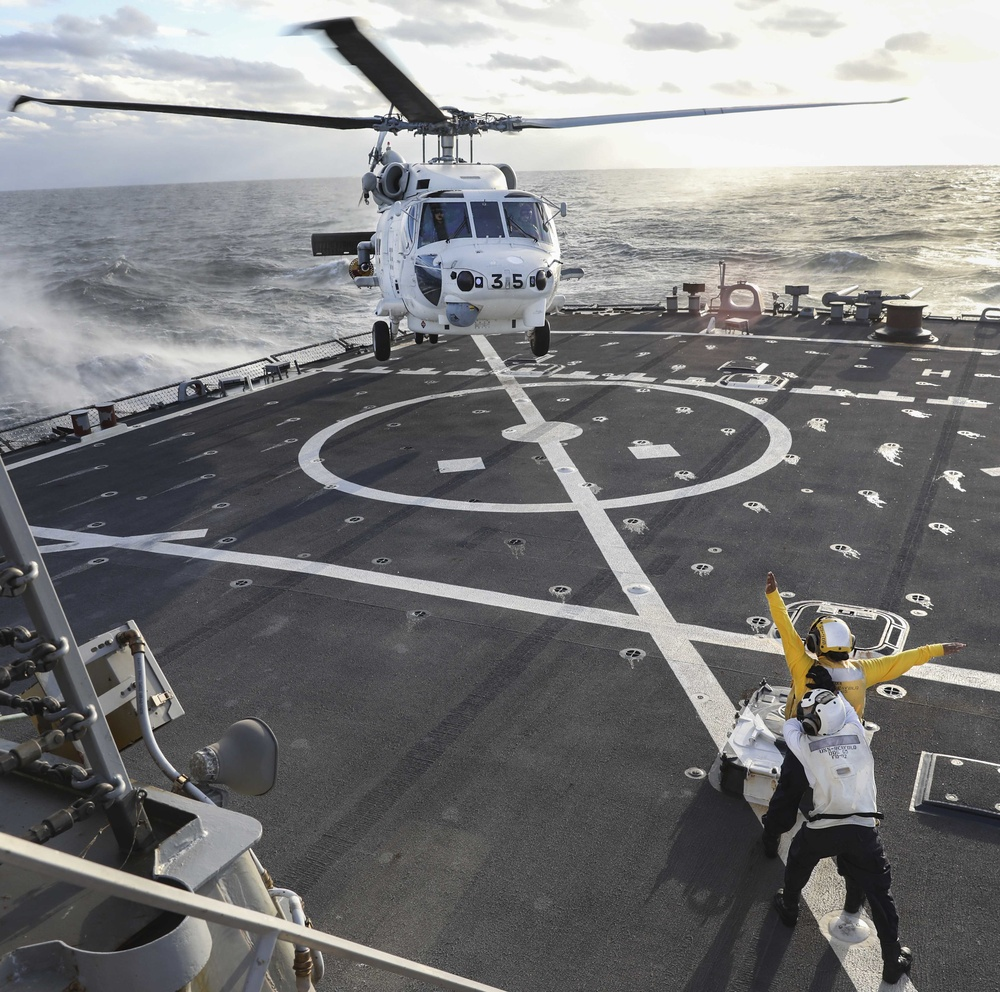 USS Benfold Conducts Flight Operations with Japan Maritime Self-Defense Force