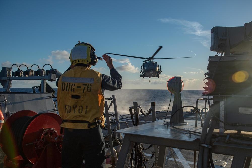 USS Higgins (DDG 76) flight operations.