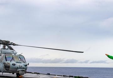 USS Charleston Sailors conduct flight operations