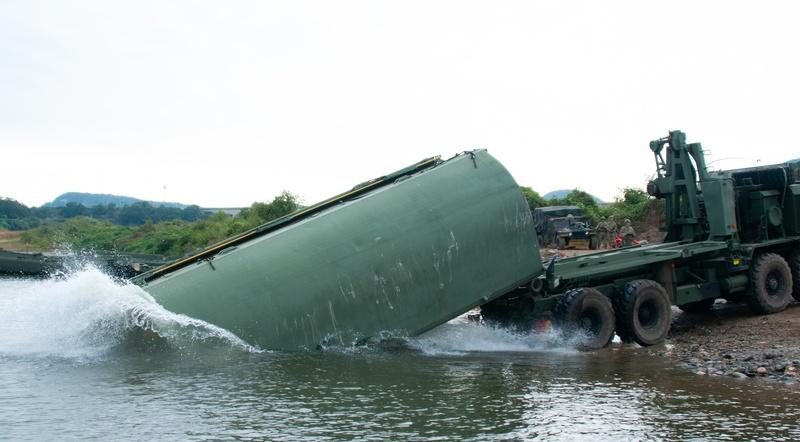 U.S. Soldiers Execute Wet Gap Bridging Exercise