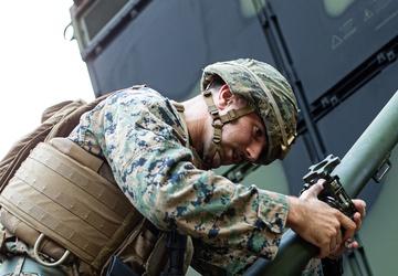 U.S. Marines operate a Ground/Air Task-Oriented Radar during Exercise Noble Jaguar 2021