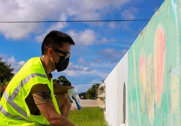 U.S. Naval Base Guam Sailors and civilians from U.S. Naval Base Guam and tenant commands partnered with the Hågat Mayor's Office for a beautification project