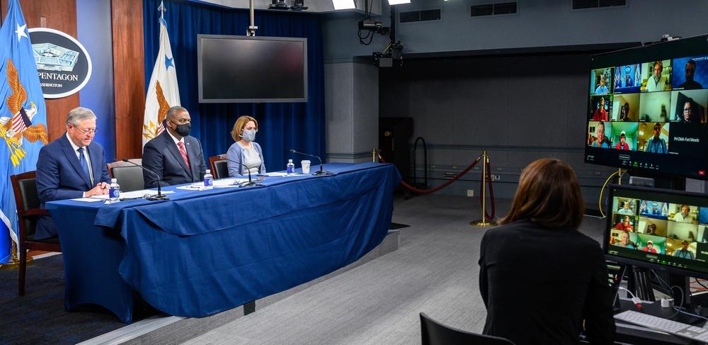 Secretary Austin, Deputy Secretary Hicks hold virtual Town Hall